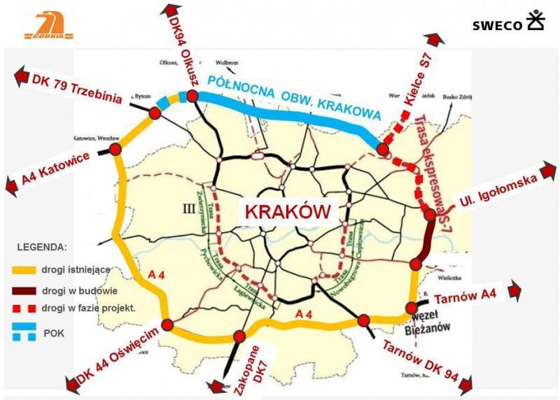 Mapa północnej obwodnicy Krakowa wciągu drogi ekspresowej S52
