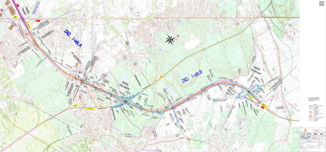 Obwodnica Marek w ciągu drogi ekspresowej S8. Mapa odcinka Marki - Kobyłka