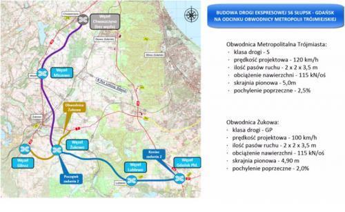Mapa drogi S6 - Obwodnicy Matropolitalnej Trójmiasta wraz z obwodnicą Żukowa