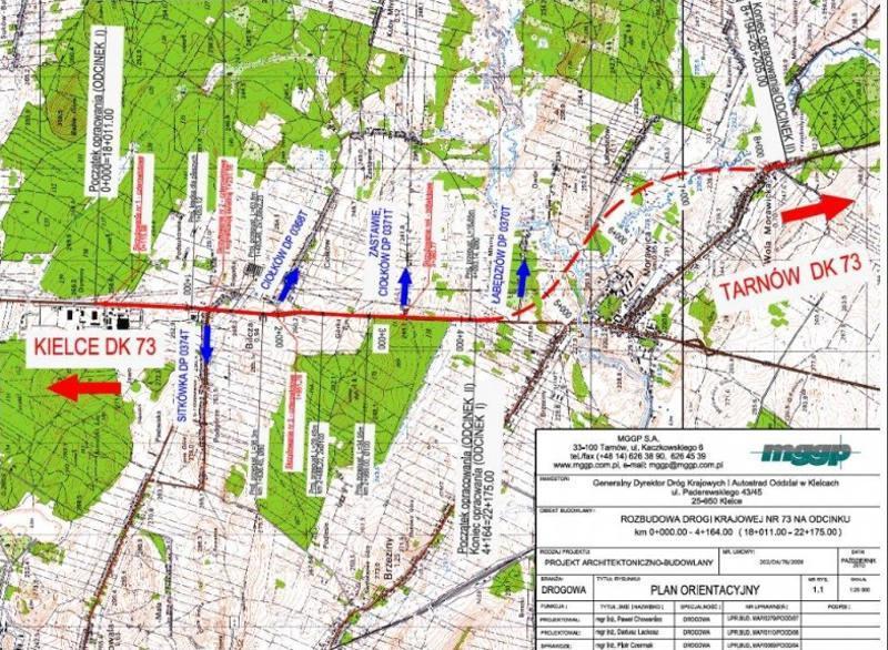 Mapa przebiegu obwodnicy Morawicy w ciągu DK73
