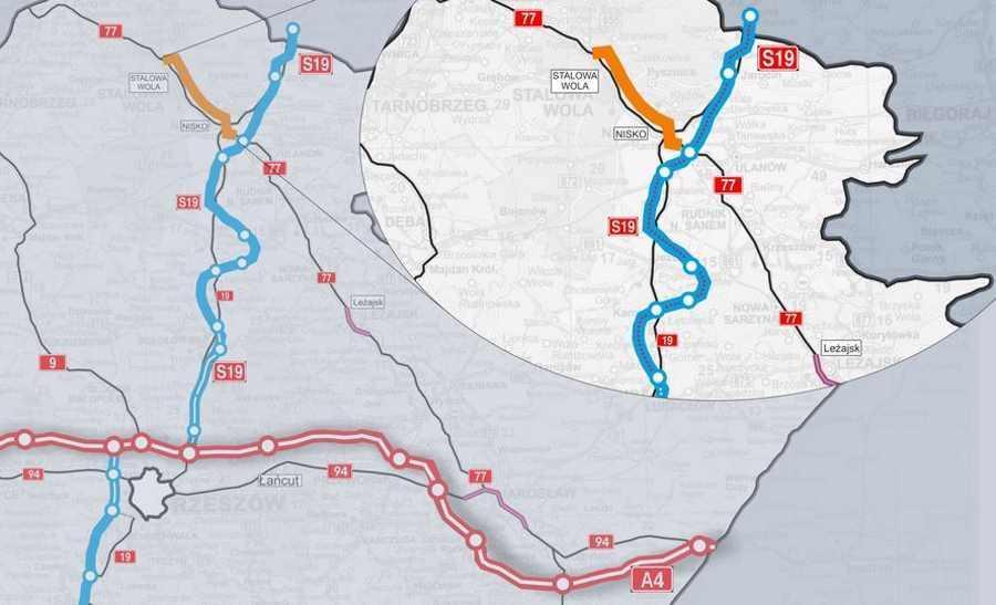Mapa przebiegu obwodnicy Niska i Stalowej Woli i połączenie z S19
