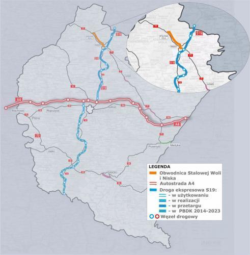 Obwodnica Niska i Stalowej Woli w ciągu DK77 - połaczenie z S19 - mapa przebiegu