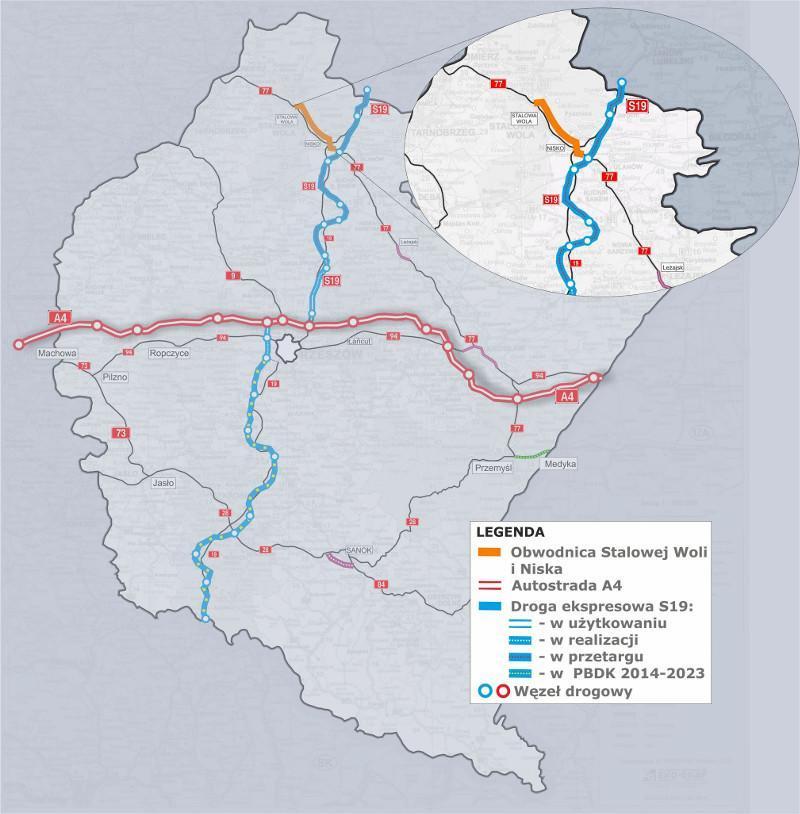 Mapa obwodnicy Niska i Stalowej Woli w ciągu DK77 - połaczenie z S19