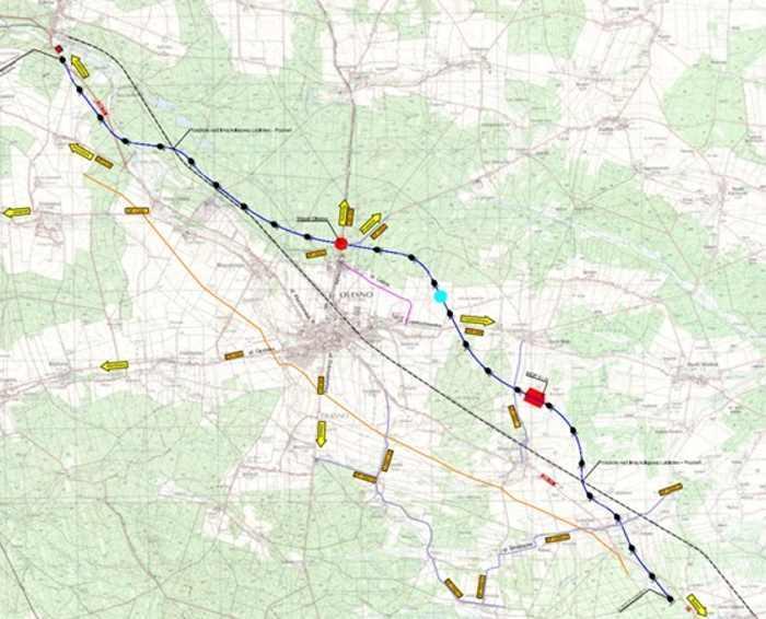 Mapa przebiegu obwodnicy Olesna w ciągu drogi ekspresowej S11