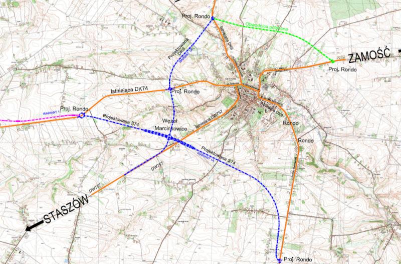 Obwodnia Opatowa w ciagu drogi ekspresowej S74 i DK9 - mapa przebiegu