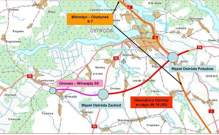 Mapa przebiegu odcinka S5 Ornowo - Ostróda