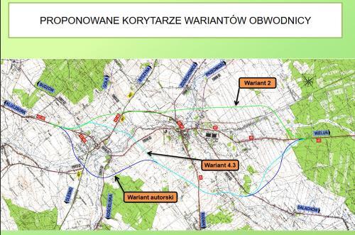 Mapa wariantów obwodnicy Praszki w ciągu DK45 w woj. opolskim