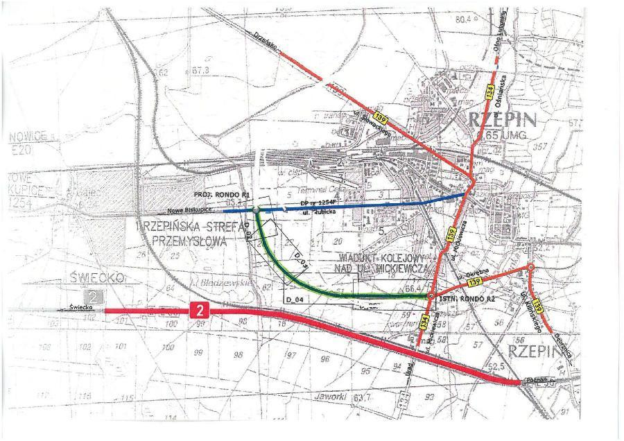 Mapa przebiegu obwodnicy Rzepina w ciągu DW139