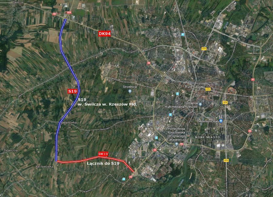 Mapa przebiegu zachodniej obwodnicy Rzeszowa w ciagu drogi ekspresowej S19 wraz z łącznikiem