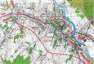 Obwodnica Sanoka - mapa jej przebiegu w ciągu DK28