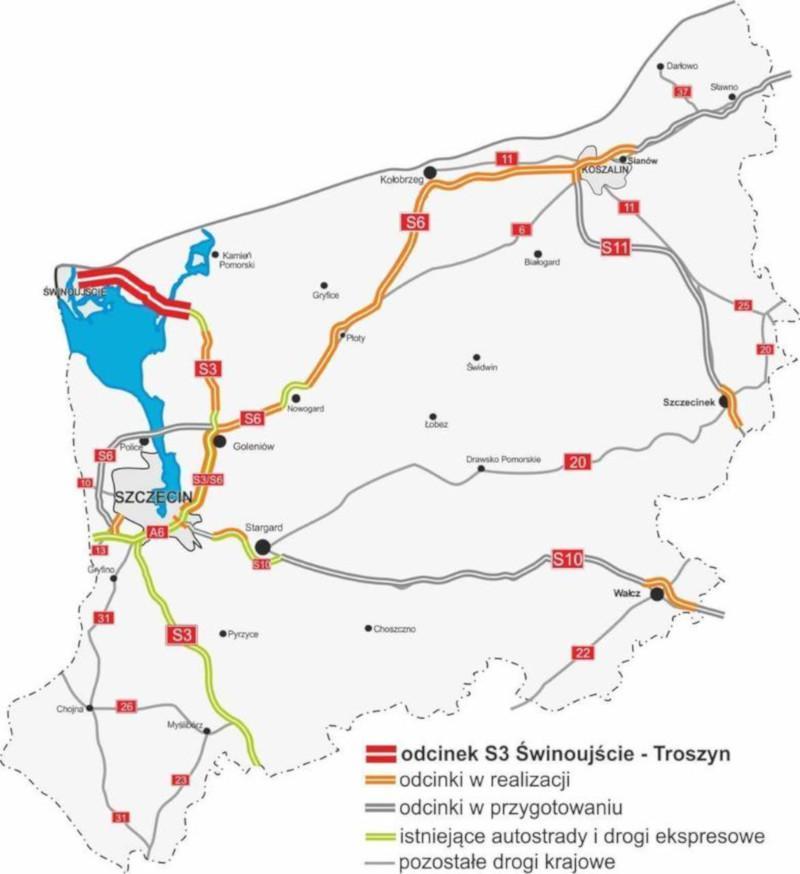 Obwodnica Szczecina - mapa dróg ekspresowych i autostrady A6