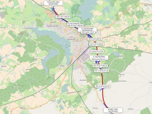 Obwodnica Szczecinka jako część drogi ekspresowej S11 - mapa