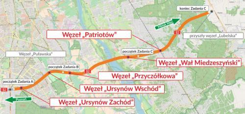 Południowa Obwodnica Warszawy - mapa drogi ekspresowej S2 Puławska - Lubelska