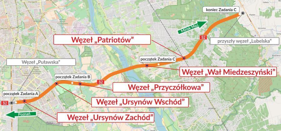 Mapa przebiegu Południowej Obwodnicy Warszawy w ciągu drogi ekspresowej S2 Puławska - Lubelska