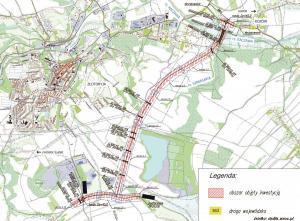 Obwodnica Złotoryi w ciągu DW363 - mapa przebiegu I odcinka