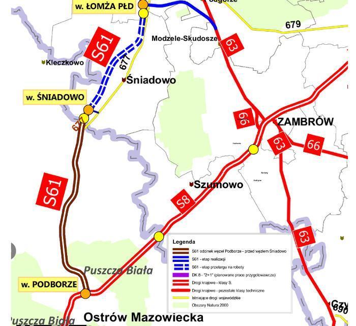 Mapa odcinka S61 na który podpisano umowę Podborze - Śniadowo