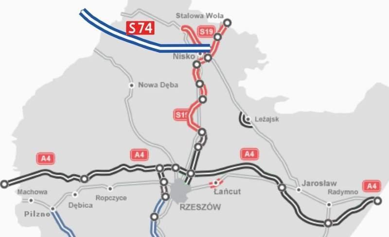 Droga ekspresowa S74 w woj. świętokrzyskim - mapa