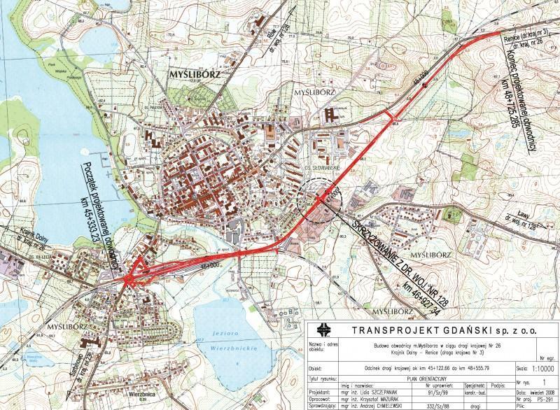 Mapa przebiegu obwodnicy Myśliborza w ciągu DK26