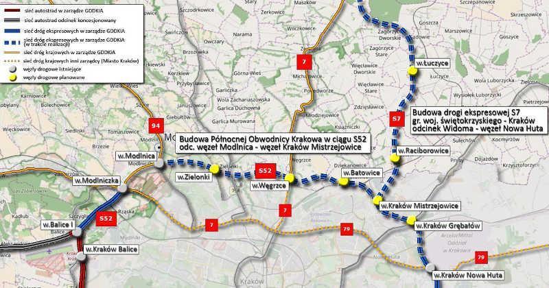 Trasa S52 - Północna Obwodnica Krakowa - mapa przebiegu