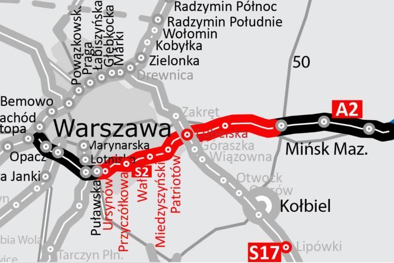 Mapa drogi ekspresowej S2 Puławska - Lubelska jako część Południowej Obwodnicy Warszawy