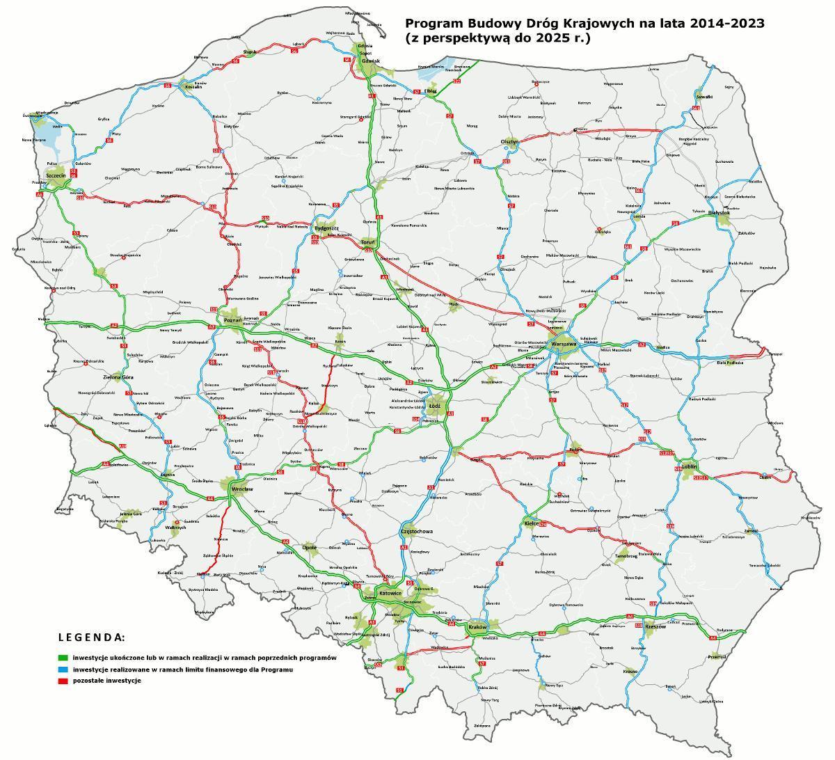 Mapa odcinków autostrad i dróg ekspresowych w budowie i przygotowaniu