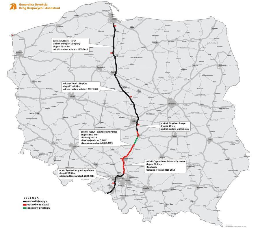 Mapa przebiegu autostrady A1 Gdańsk - Toruń - Łódź - Częstochowa - Katowice - Gorzyczki