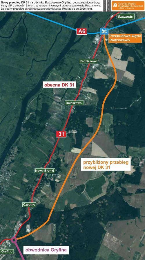 Mapa przebiegu drogi krajowej nr 31 Gryfino - sczzecin (Radziszewo połaczenie z A6)