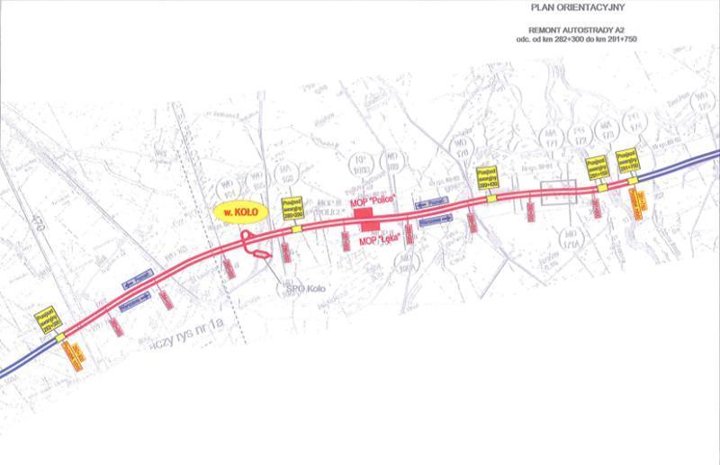 Mapa remontowanego odcinka autostrady A2 w woj. wielkopolskim