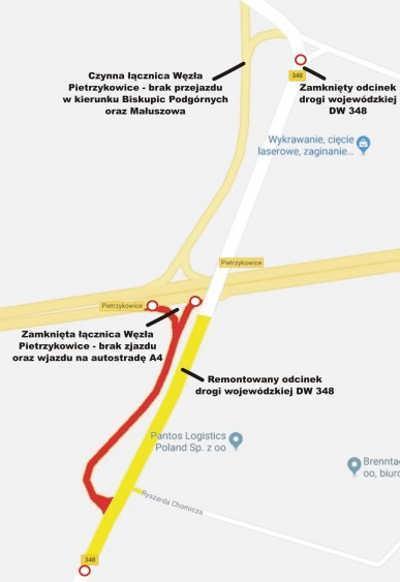 Zamknięta DW348 i węzeł Pietrzykowice na A4