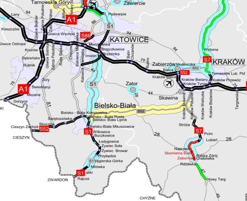 Mapa z lokalizacja odcinka S1 - obejście Węgierskiej Górki