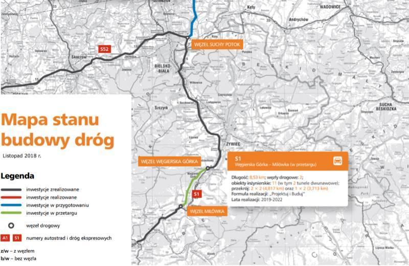 Mapa obwodnicy Węgierskiej Górki - droga ekspresowa S1 Przybędza - Milówka
