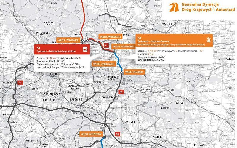 Mapa drogi ekspresowej S1 z odcinkiem realizacyjnym Pyrzowice - Podwarpie (dobudowa II jezdni)