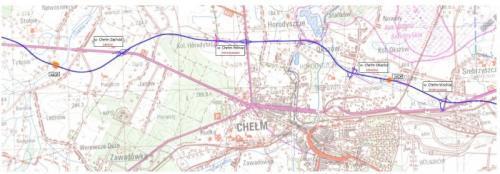 Mapa obwodnicy Chełma w ciągu drogi ekspresowej S12