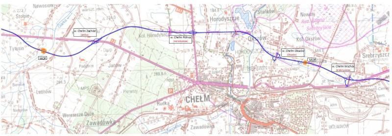 Mapa przebiegu drogi ekspresowej na odcinku obwodnicy Chełma