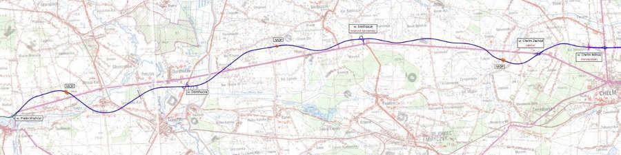 Mapa przebiegu projektowanej drogi ekspresowej S12 Piaski - Chełm - Dorohusk