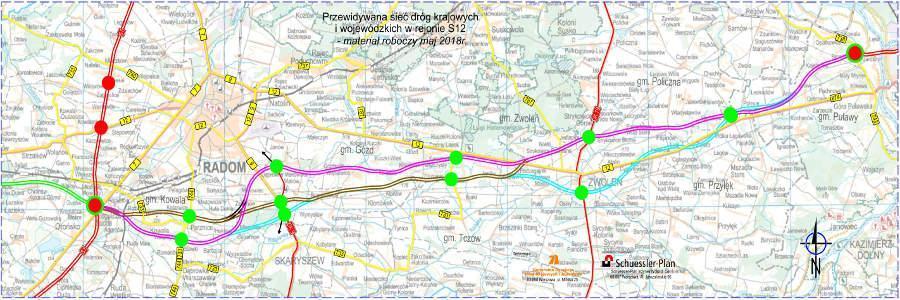 Mapa z wariantami przebiegu drogi ekspresowej S12 Radom - Pulawy