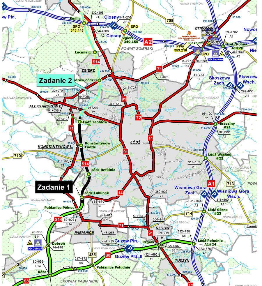 Mapa przebiegu zachodniej obwodnicy Łodzi w ciągu drogi ekspresowej S14 w podziale na zadania.