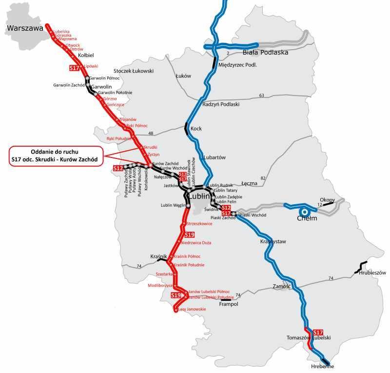 Mapa odcinków drogi ekspresowej S17 Warszawa - Lublin. Otwarcie S17 Skrudki - Kurów