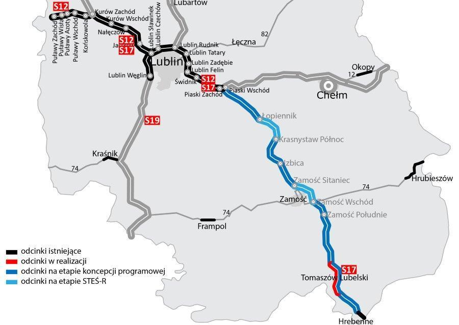 Mapa drogi ekspresowej S17 Lublin - Hrebenne