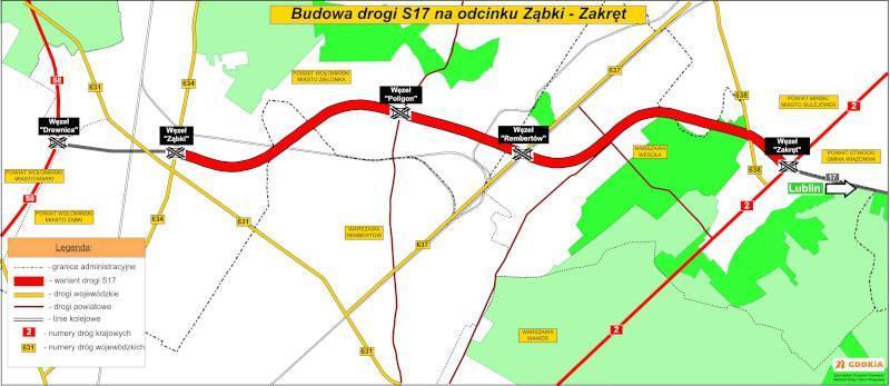 Mapa przebiegu Wschodniej Obwodnicy Warszawy na odcinku drogi ekspresowej S17 Ząbki - Zakręt