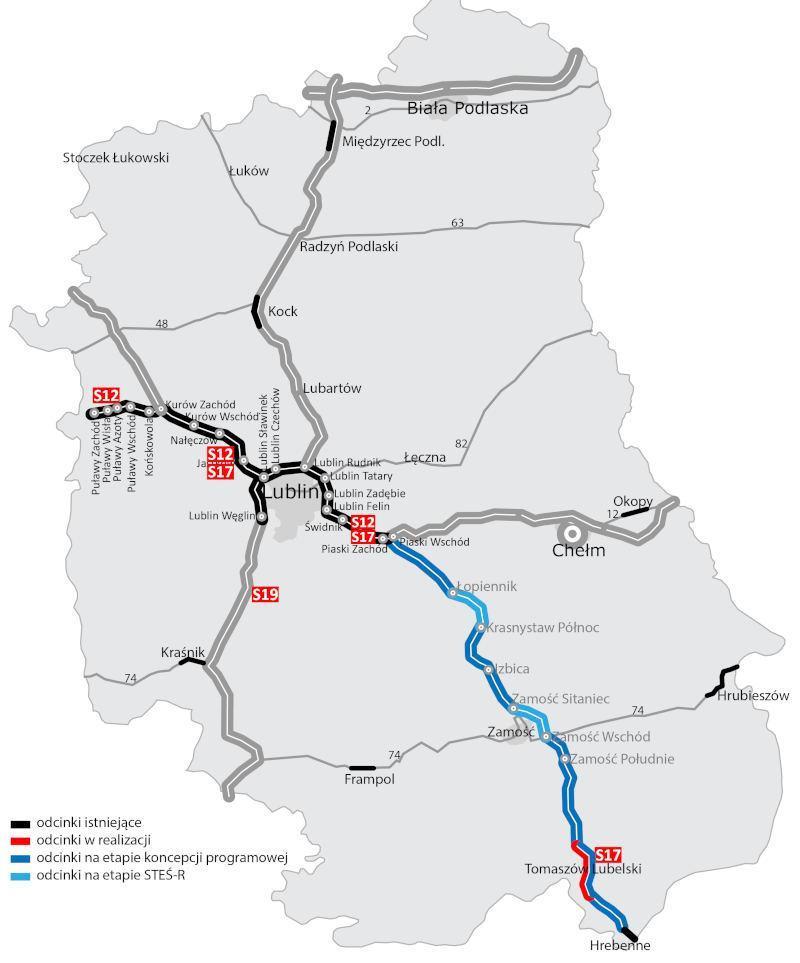 Mapa z przebiegiem drogi ekspresowej S17 Piaski - Hrebenne
