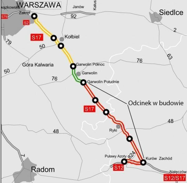 Mapa realizowanych odcinkó drogi ekspresowej S17