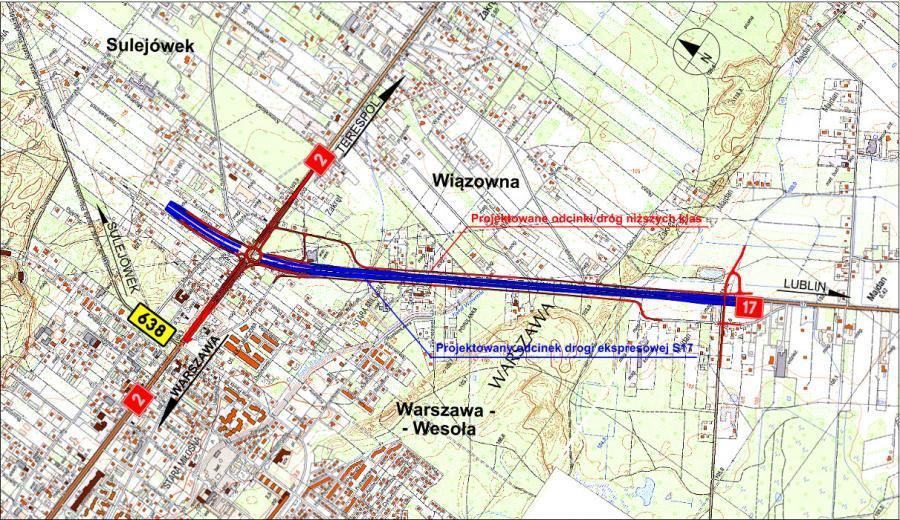 Mapa przebiegu Wschodniej Obwodnicy Warszawy na odcinku S17 Zakręt - Lubelska