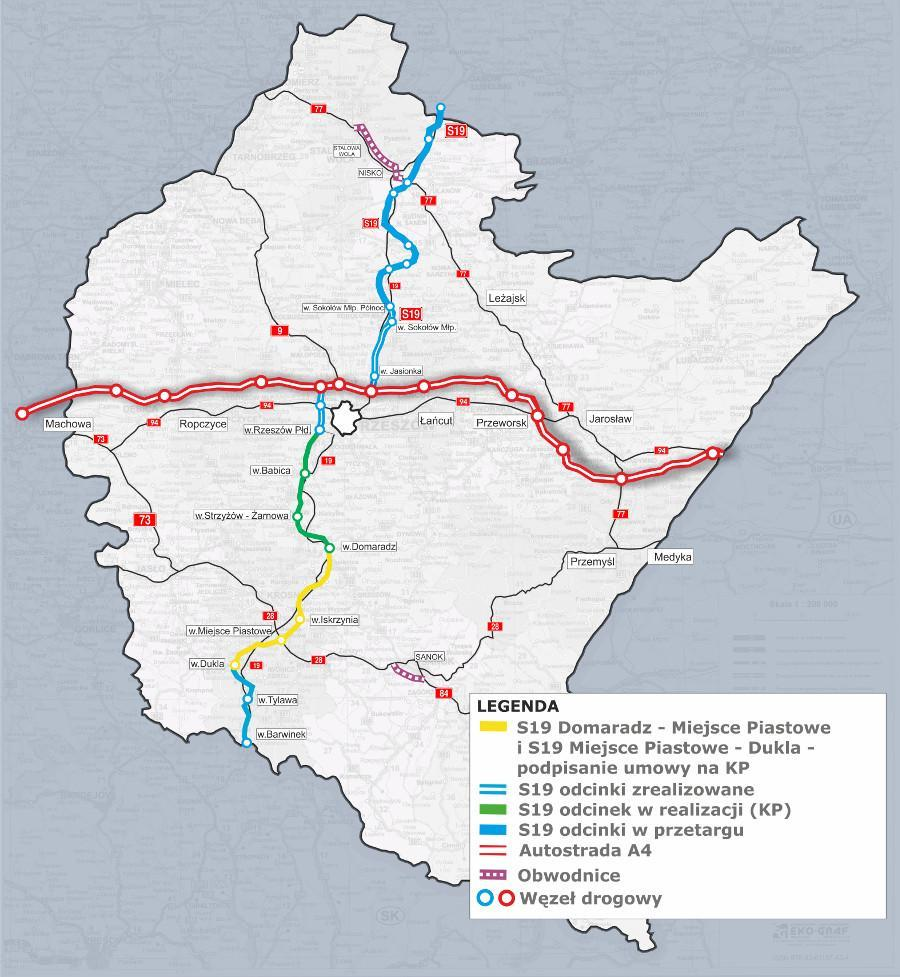 Droga ekspresowa S19 Domaradz - Dukla mapa przebiegu