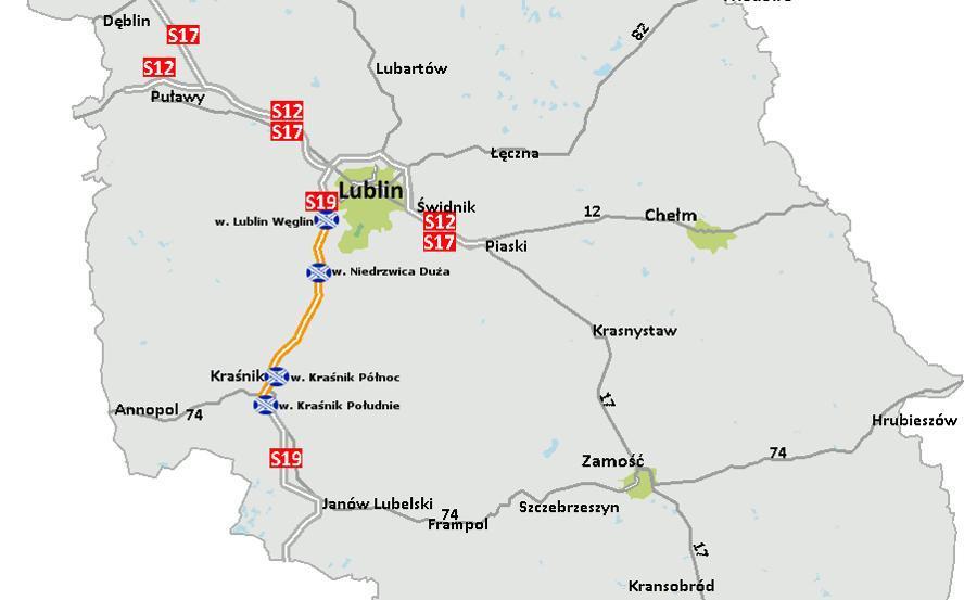 Droga ekspresowa S19 Lublin - Kraśnik - mapa inwestycji