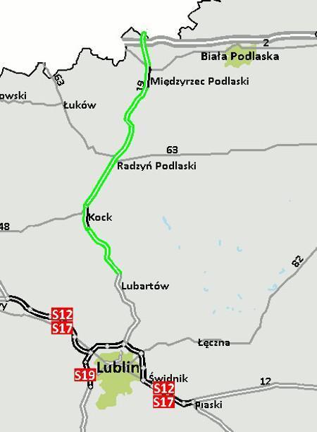 Mapa przebiegu skierowanego do przetragu odcinka S19 Lubartów - granica