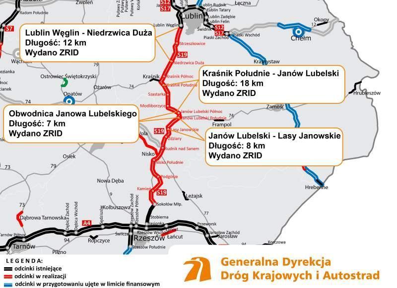 Zaawansowanie prac projektuj i buduj dla S19 Lublin - Rzeszów
