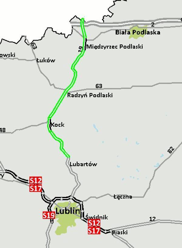 Mapa drogi ekspresowej S19 Lubartów - granica województw