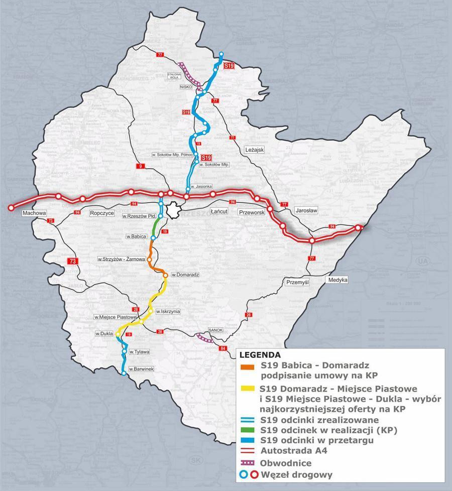Mapa z odcinkami drogi ekspresowej S19 Babica - Barwinek. Stan realizacji