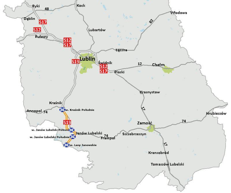 Odcinki drogi ekspresowej S19 Krasnik - Janów Lubelski - Lasy Janowskie